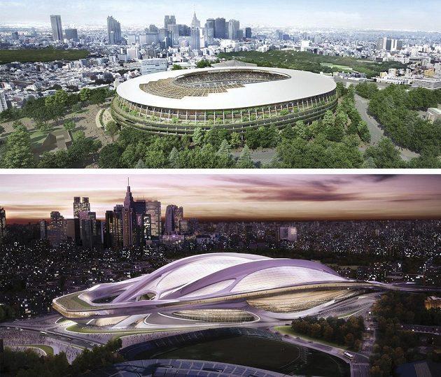 Původní futuristický design (dole) stadiónu v Tokiu musel být kvůli finanční náročnosti zrušen.