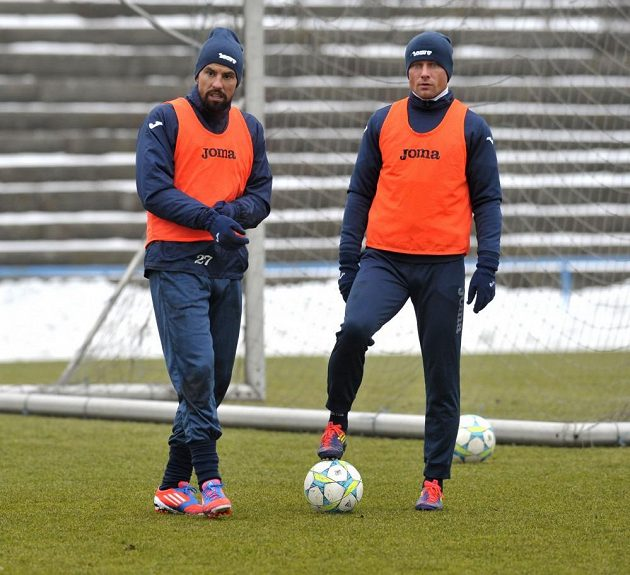 Milan Baroš (vlevo) a Martin Lukeš na tréninku Baníku Ostrava.