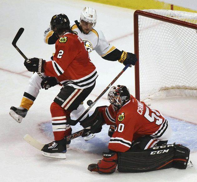 Švéd Viktor Arvidsson (úplně vlevo) rozhodl gólem utkání play-off v Chicagu.