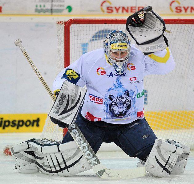 Brankář Liberce Ján Lašák v utkání s Pardubicemi.