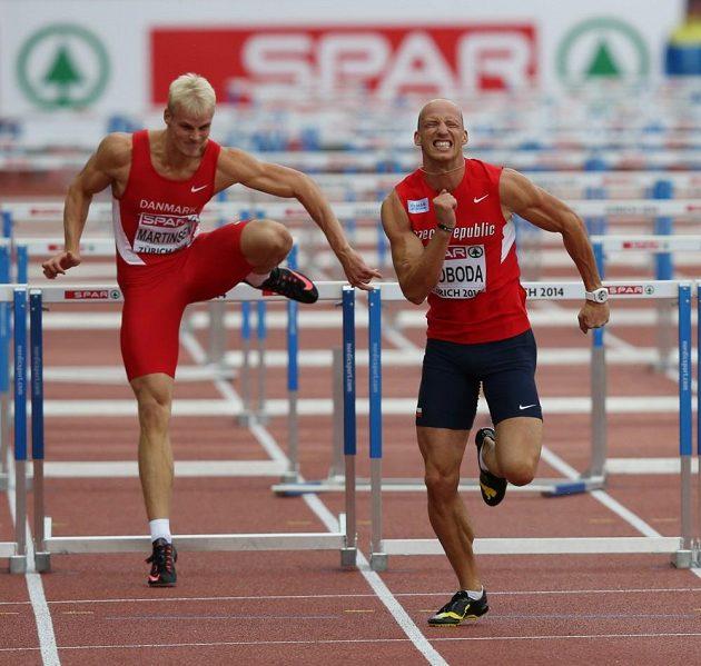Překážkář Petr Svoboda (vpravo) na mistrovství Evropy v Curychu