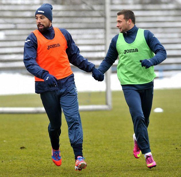 Milan Baroš (vlevo) a Antonín Fantiš na tréninku Baníku Ostrava