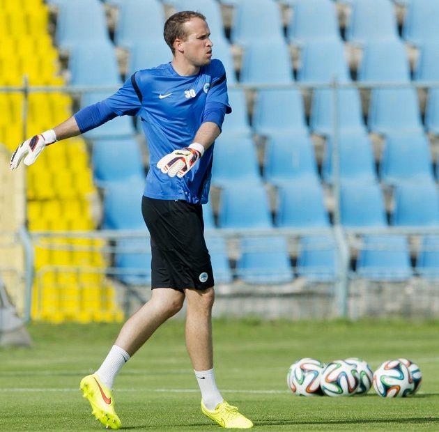 Liberecký brankář Lukáš Hroššo na středečním tréninku před zápasem druhého předkola Evropské ligy s Košicemi.