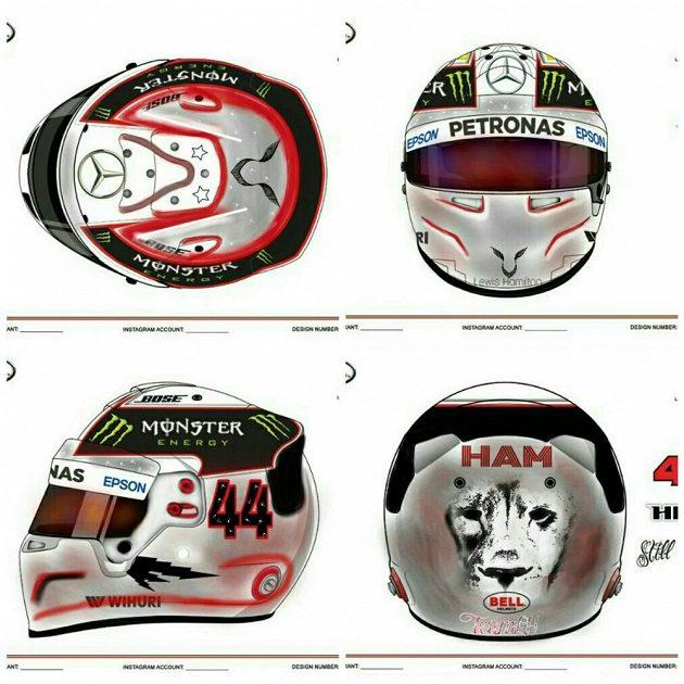 Jeden z návrhů nové helmy Lewise Hamiltona.
