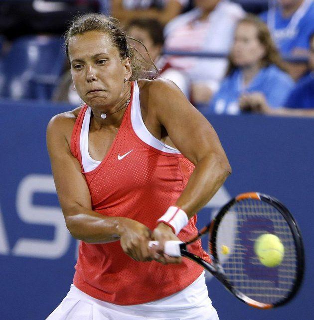 Česká tenistka Barbora Strýcová v zápase 3. kola US Open proti Němce Sabine Lisické.