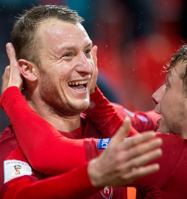 Michael Krmenčík oslavuje proti Norsku.