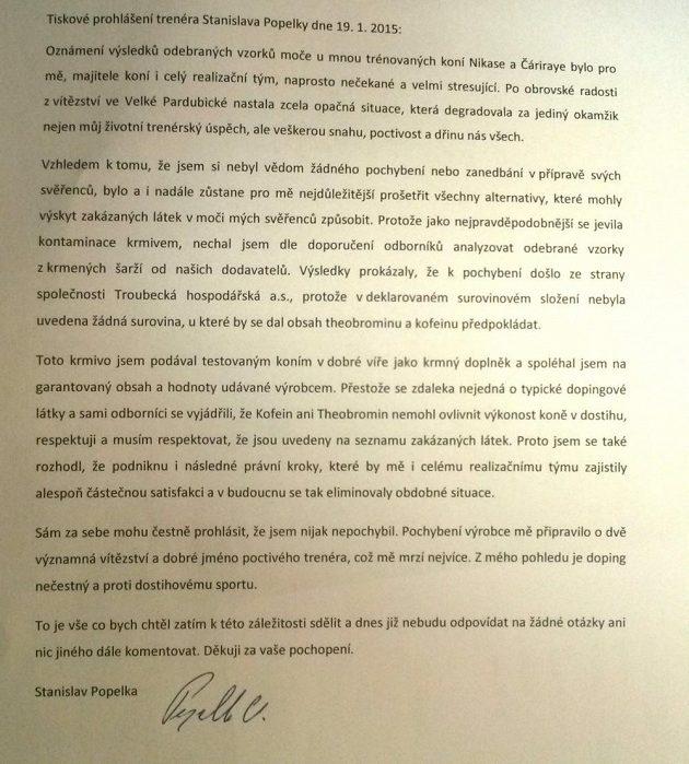 Tiskové prohlášení trenéra Nikase Stanislava Popelky.