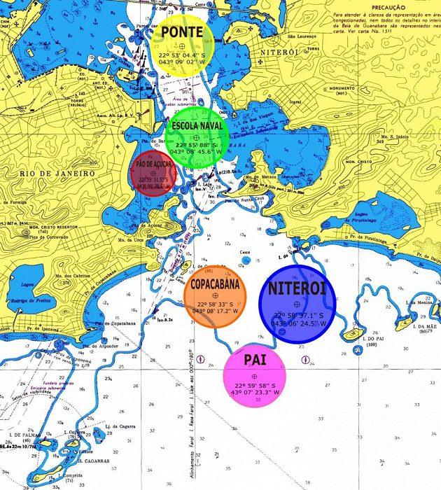 Schéma jachtařských závodních v zátoce Guanabara v Rio de Janeiru, kde se odehraje olympijská regata.