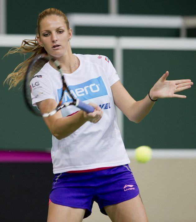 Česká tenistka Karolína Plíšková během úterního tréninku v O2 areně.