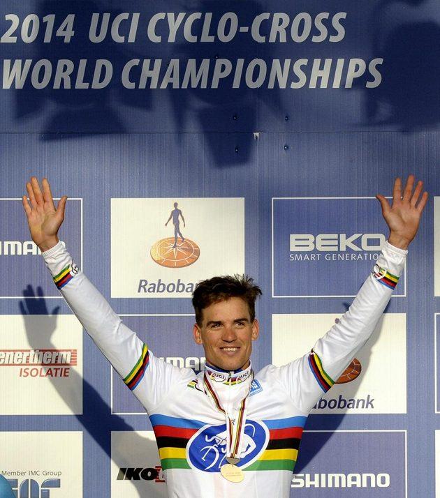 Zdeněk Štybar se zlatou medailí pro mistra světa v cyklokrosu.