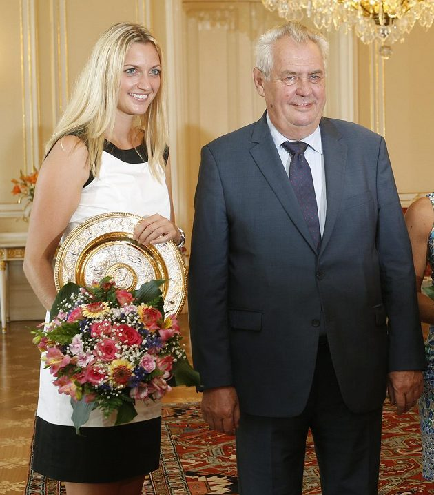 Prezident Miloš Zeman přijal na Pražském hradě wimbledonskou vítězku Petru Kvitovou.
