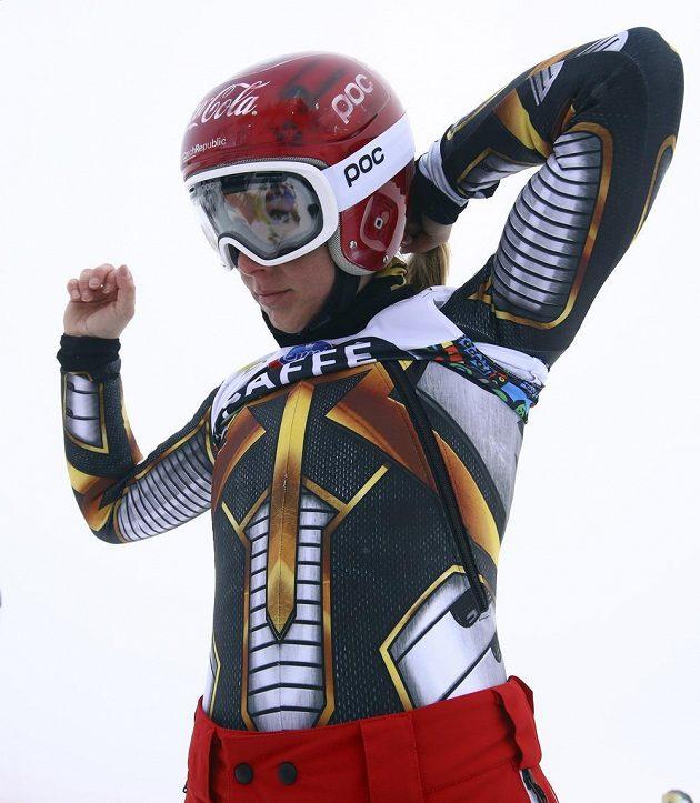 Ester Ledecká během tréninku v Aare.