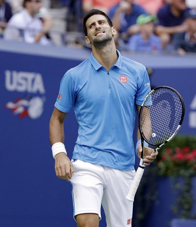Novak Djokovič během finále dvouhry na US Open.