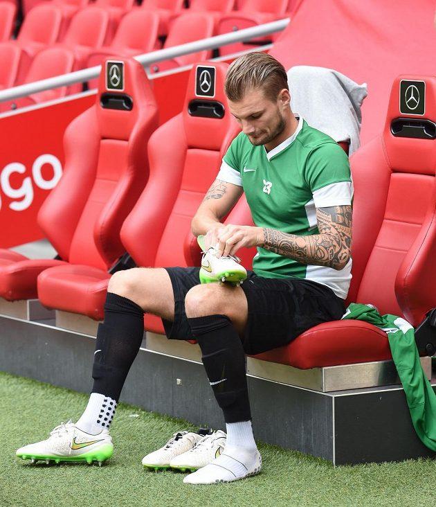 Jablonecký stoper Vít Beneš na tréninku před úvodním utkáním play off Evropské ligy s Ajaxem.