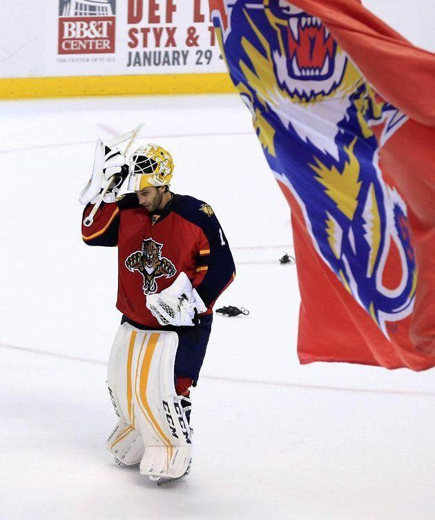 Kanadský brankář Roberto Luongo (1) pochytal v zápase Floridy proti New Yorku Rangers všech 40 střel a slaví své 71. čisté konto v NHL.