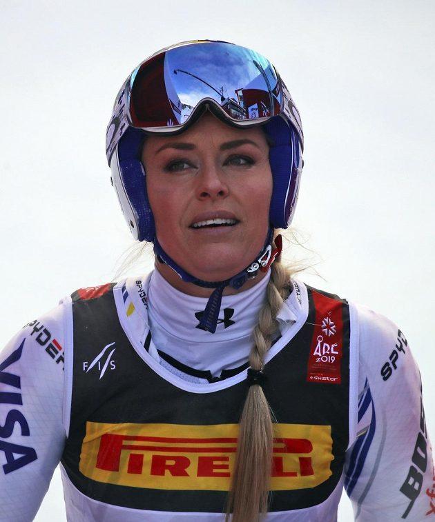 Lindsey Vonnová z USA super-G v Aare nedokončila.