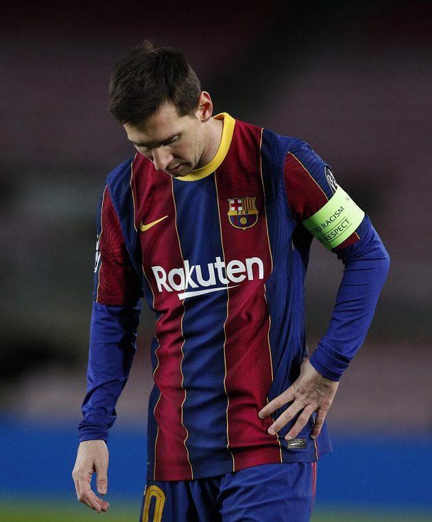 Kapitán Barcelony Lionel Messi během zápasu Ligy mistrů s Juventusem.