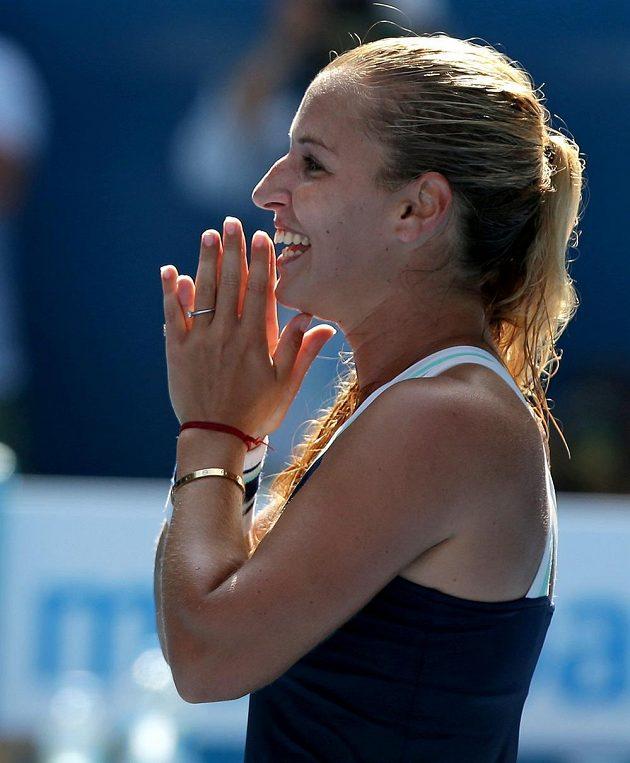 Emoce Slovenky Dominky Cibulkové po vítězství v semifinále Australian Open.