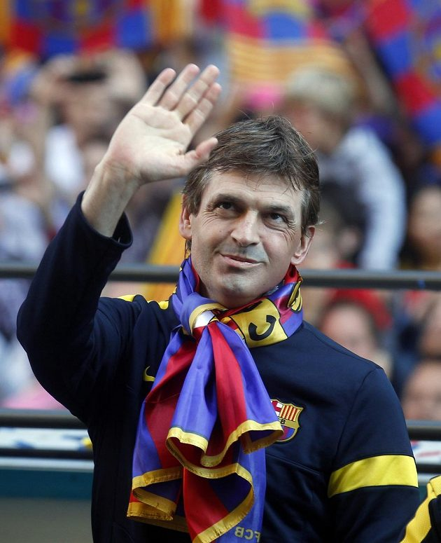 Tito Vilanova při chvílích radosti po zisku titulu s Barcelonou.