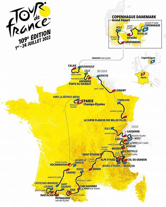 Mapa Tour de France 2022.