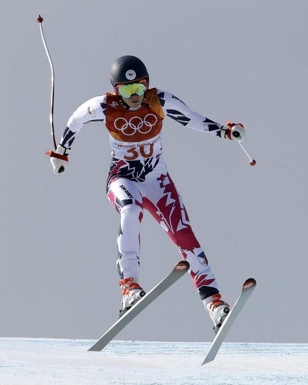 Česká lyžařka Kateřina Pauláthová během kombinačního sjezdu na olympiádě.