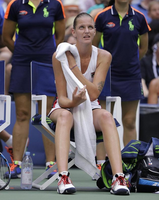 Karolína Plíškova při finále US Open s Němkou Angelique Kerberovou.