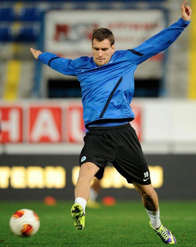 Michael Rabušic ze Slovanu Liberec na tréninku před zápasem se Sevillou.