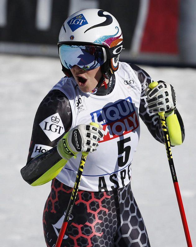 Tina Weiratherová z Lichtenštejnska v Aspenu po super-G.