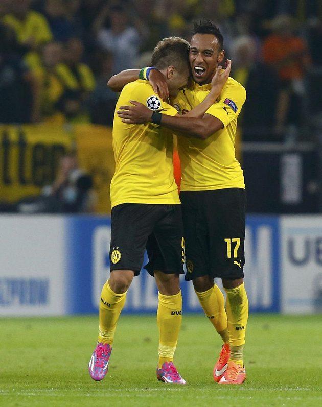 Dortmundští střelci proti Arsenalu: Ciro Immobile (vlevo) a Pierre-Emerick Aubameyang.