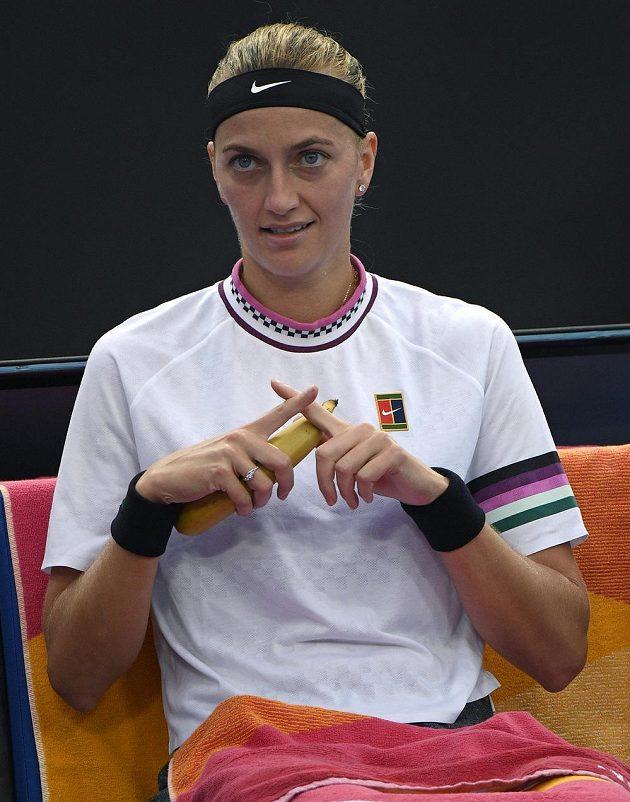 Česká tenistka Petra Kvitová v pauze mezi hrami během Australian Open.
