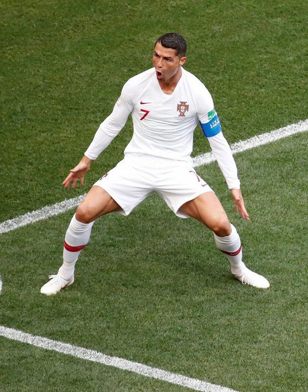 Cristiano Ronaldo slaví svůj čtvrtý gól na MS v Rusku. Po hattricku do sítě Španělska se trefil i v duelu proti Maroku.
