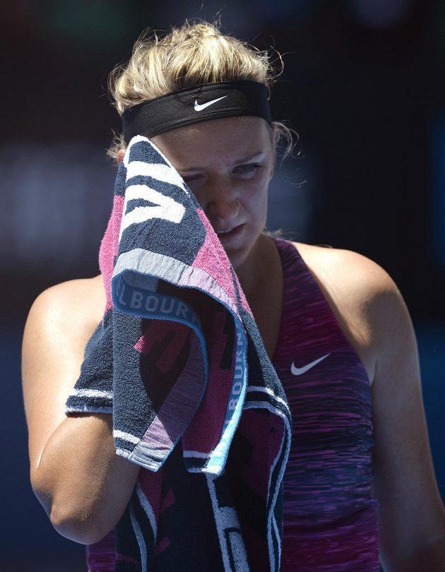 Běloruská tenistka Victoria Azarenková během čtvrtfinálového utkání Australian Open s Polkou Agnieszkou Radwaňskou.