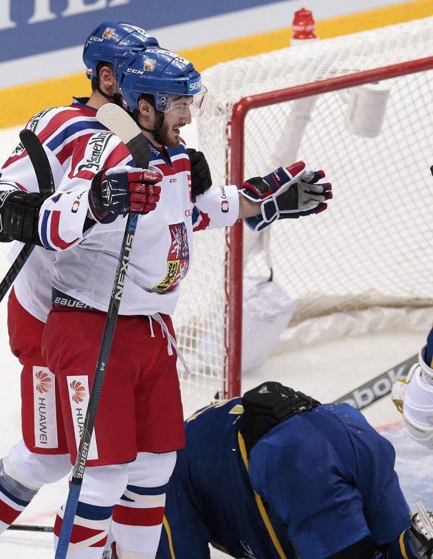 Tomáš Filippi se raduje ze své vítězné trefy proti Švédům.