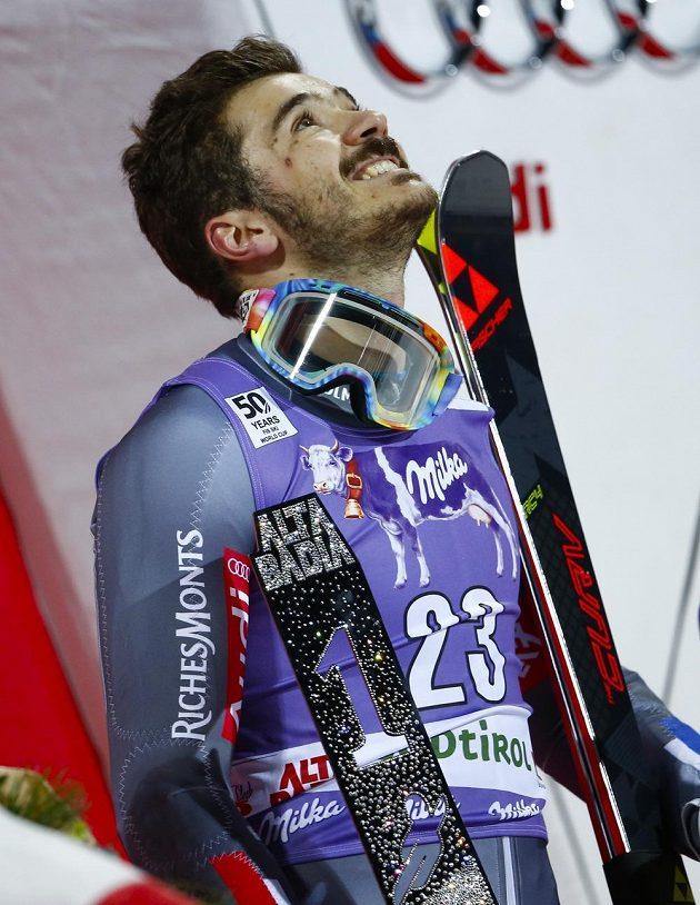 Francouz Cyprien Sarrazin, vítěz paralelního obřího slalomu v Alta Badii.