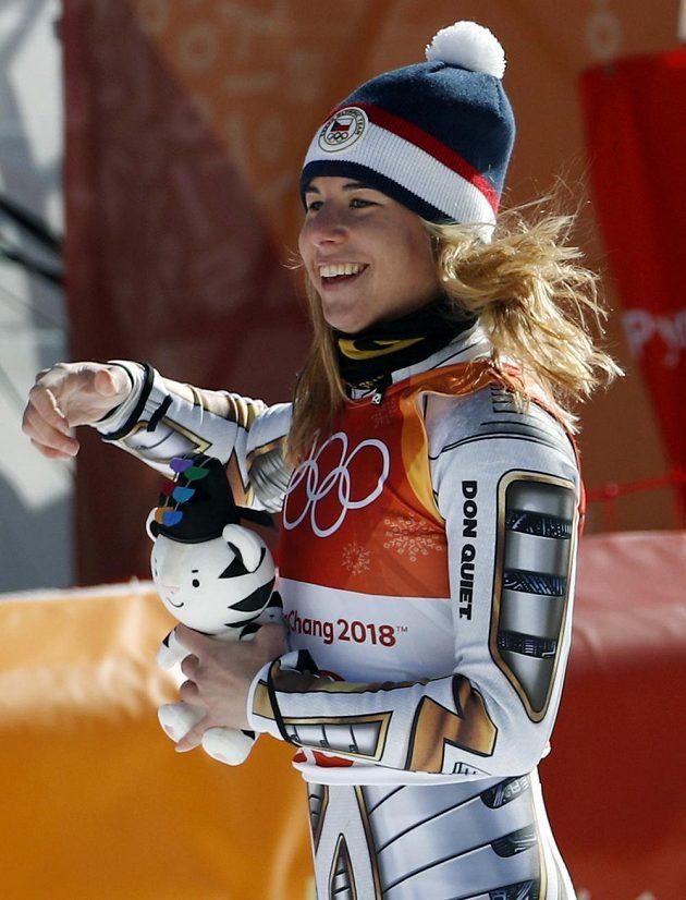 Ester Ledecká, novopečená olympijská vítězka v super-G.