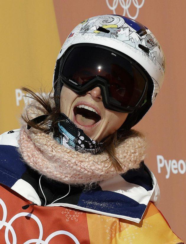 Šárka Pančochová během olympijského finále ve slopestylu.
