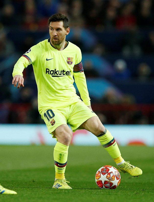 Lionel Messi z Barcelony při utkání s Manchesterem United.