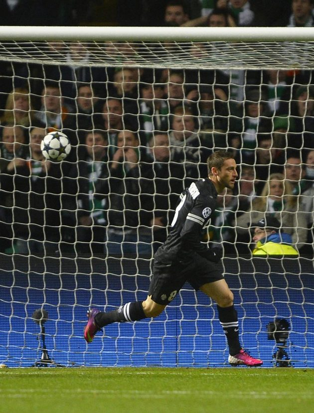 Claudio Marchisio z Juventusu se raduje z gólu proti Celtiku.