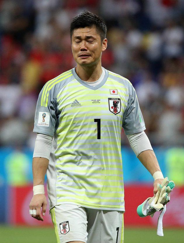 Japonský gólman Eiči Kawašima vyřazení týmu v osmifinále MS oplakal.