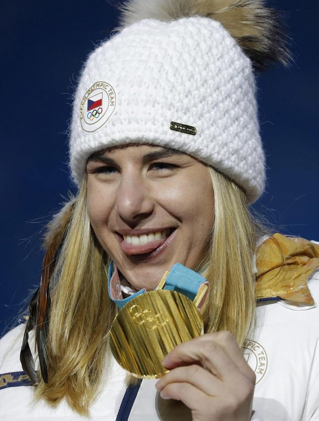 Zlatá ester Ledecká, vítězka super-G.