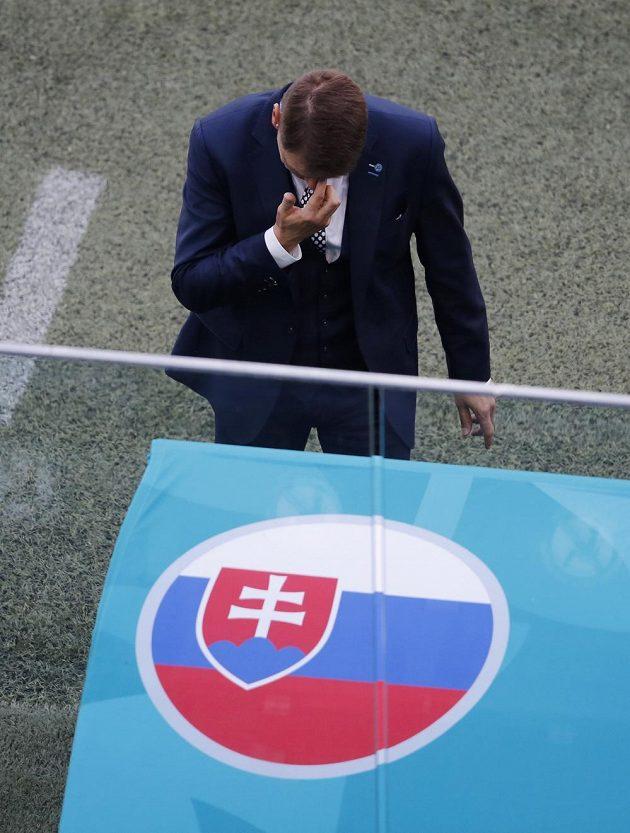 Kouč Slováků Štefan Tarkovič během duelu se Švédskem.