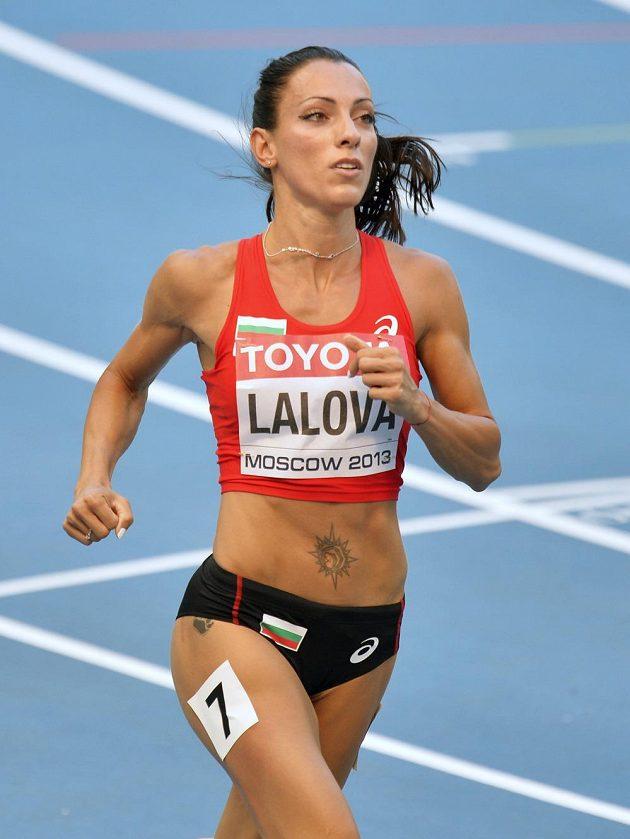 Bulharská sprinterka Ivet Lalolová na mistrovství světa v Moskvě.