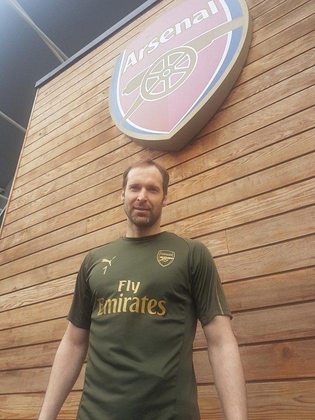Petr Čech v tréninkovém centru Arsenalu.