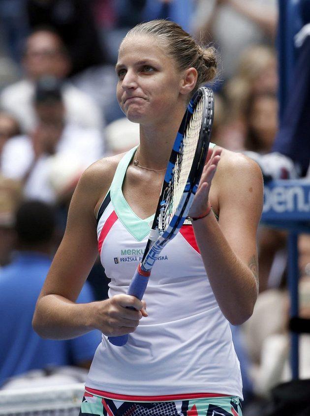 ...a obrovská úleva na tváři Karolíny Plíškové po postupu do 4. kola US Open.