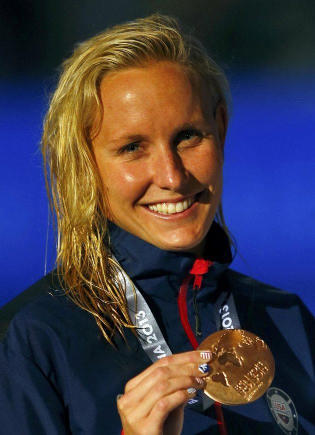 """Jessica Hardyová z USA se v minulosti """"proslavila"""" dopingovou aférou, v závodu na 100 metrů prsa skončila třetí."""