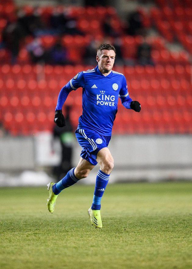 Jamie Vardy z Leicesteru během utkání vyřazovací části Evropské Ligy.