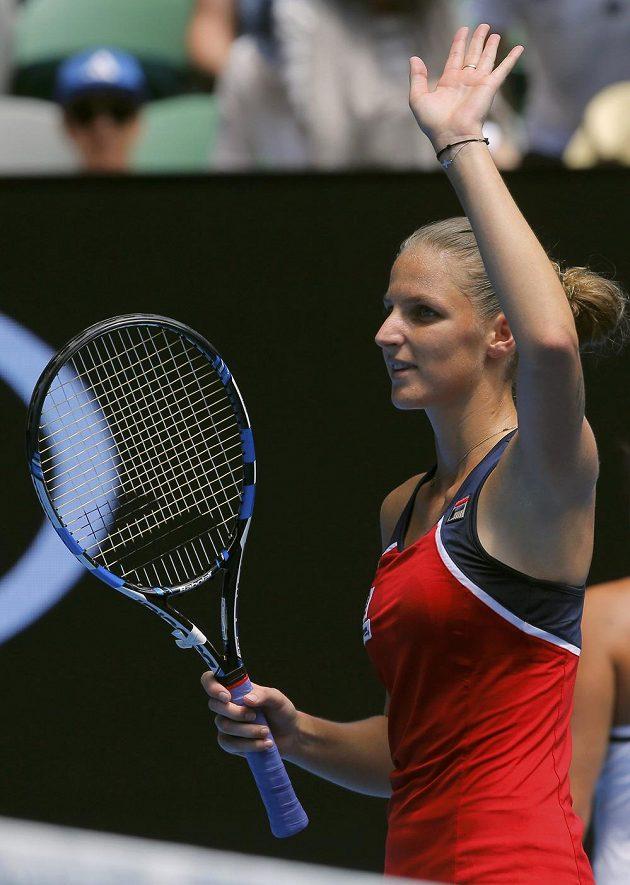 Karolína Plíšková děkuji fanouškům za podporu během utkání 1. kola Australian Open.