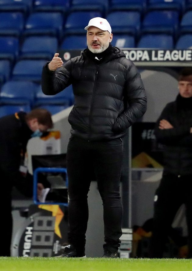 Kouč Slavie Jindřich Trpišovský v odvetě osmifinále Evropské ligy proti Glasgow Rangers.
