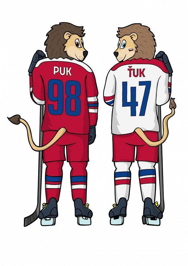 Noví maskoti hokejové reprezentace Ťuk a Puk.