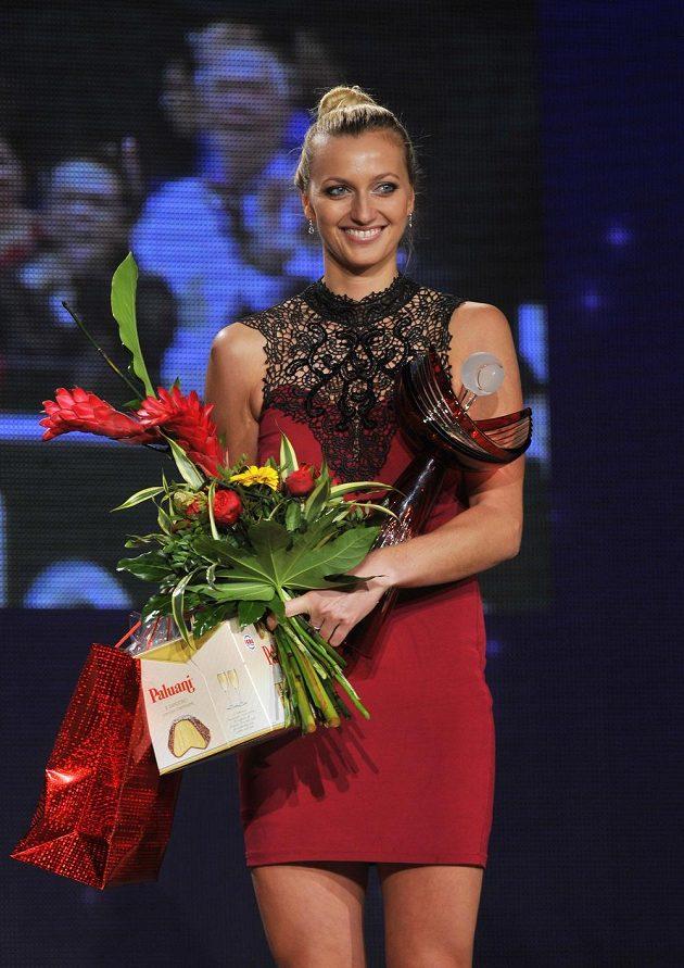 Petra Kvitová na slavnostním vyhlášení výsledků ankety Zlatý kanár o nejlepšího tenistu letošního roku.
